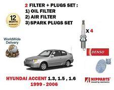 Pour Hyundai Accent 1.3 1.5 1.6 1999-2006 Huile Air Filtre Kit + Bougies