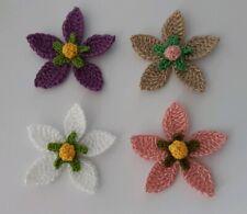 4 Crochet Flowers - Embellishments - Cardmaking- Appliques