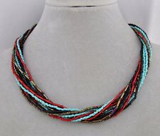 Czech Glass Bead Necklace Turquoise Brown Red Magnetic Clasp Fashion Jewelry NEW