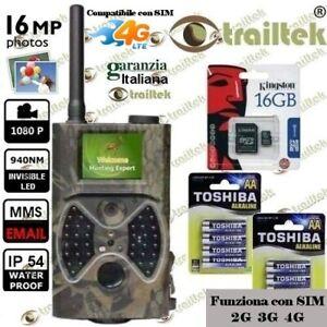 FOTOTRAPPOLA MIMETICA SPIA VIDEOCAMERA MMS -MAIL- INFRAROSSO INVISIBILE 16MP HD