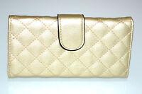 Portefeuille or doré femme faux cuir portemonnaie clutch sac à main métallisé G4