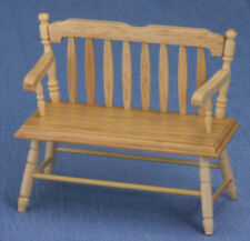 Dollhouse Miniatures 1:12 Scale Deacon Bench, Oak #CLA10511