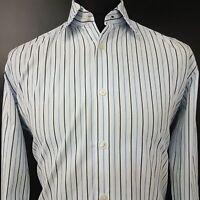 HUGO BOSS Mens Formal Shirt 41 16 (LARGE) Long Sleeve White Regular Fit Striped
