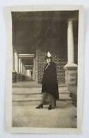 Snapshot Photograph Woman Wearing Long Coat Over Dress Hat Vintage Fashion