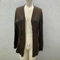 Christopher & Banks Cardigan Sweater Womens M Brown Knit Crocket Back Open Front