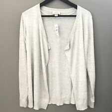 LOFT Womens Cardigan Size MP Petites Heather Gray Open Front Knit Sweater Casual