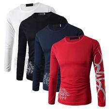 Herren enge Passform Freizeithemd T-Shirt langärmlig Baumwolle Oberteile M-2XL T