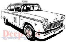 Deep Red Stamps Classic Taxi Rubber Cling Stamp