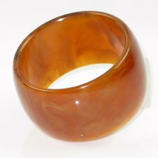 Vintage Bakelite Bracelet Bangle rare honey amber marble color Extra Wide
