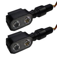Kleine schwarze LED Blinker in eckigem Metallgehäuse für Chopper Bobber Custom