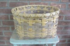 Round Hand Woven Split Wood Orchard Basket, Signed