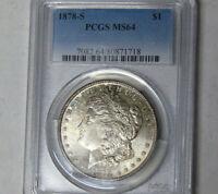 PCGS MS64 1878-S Morgan Silver Dollar San Francisco Mint Near Gem Uncirculated