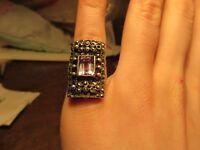 Wundervoller 925 Silber Ring Jugendstil Art Deco Markasit Rosa Flieder Stein