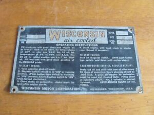 Wisconsin TFD Engine Identification and Information Tag