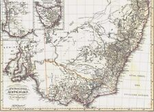 Echte 168 Jahre alte Landkarte AUSTRALIEN Süd-und West Australien Tasmanien 1850