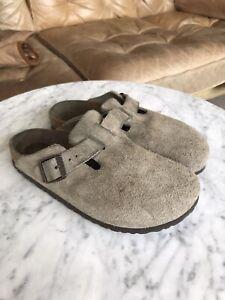 Birkenstock Boston Mule Olive Taupe Sandals Suede 37 Mens 6 Womens 4