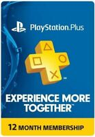 PlayStation Plus PS4 Subscription 1 Year 12 Month PSN Membership digital USA
