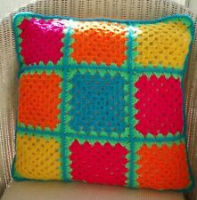 """16"""" (41cm) HAND MADE CROCHET CUSHION COVER, VERY BRIGHT COLOURS"""