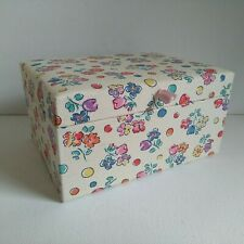 Vintage 1970's Flower Power Fabric Covered Jewellery Box Mirror May Be Musical?