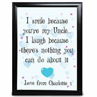 Personalised Funny Cheeky Uncle Gifts Birthday Christmas Thank You Card Prints