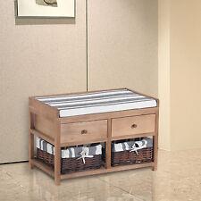 HOMCOM Classic Wood Storage Bench Hallway Entryway w/Cushion 2 Drawers & Baskets