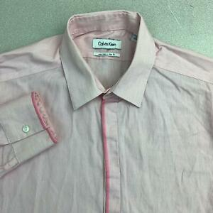 Calvin Klein Dress Shirt Mens 16 Pink 32/33 Sleeve Non-Iron Slim Fit Pinstripe
