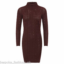 Ladies Women's Long Sleeve Polo Neck Cable Knitted Jumper Mini Dress Top 8-14 Wine Ml 12-14