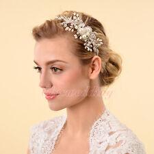 Crystal Vintage Style Wedding Side Tiara Pearl Crystal Headband Hairpin Clip NEW