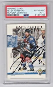 1998 Upper Deck UD Choice Peter Forsberg Avalanche Signed Auto Card #229 PSA/DNA