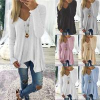 Womens Plus Size V Neck Casual Shirt Asymmetrical Long Sleeve Blouse Jumper Tops