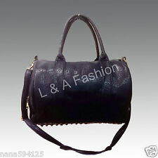 Ladies Unisex Celebrity Studded Bottom Black Duffel Tote Handbag Shoulder Bag
