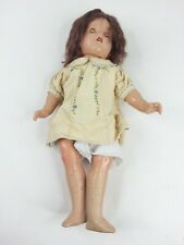 """Vintage Creepy Cracked Antique Baby Doll w/ Teeth Paper says """"My Last Doll"""" 1946"""