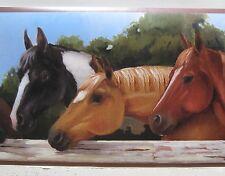 "YORK HORSE HEADS HORSES RANCH Wallpaper Border 9"""