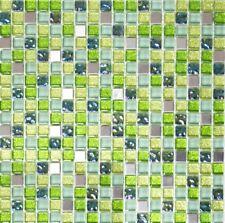 Mosaik Glas Naturstein Stahl grün/silber mix Wand Bad Art: WB92-0506|1 Matte