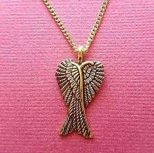 Angel Wing Necklace gold plated chain and Charm Pendant double wings guardian