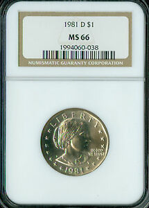1981-D SBA DOLLAR NGC MS66 2ND FINEST REGISTRY SPOTLESS *