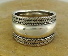 WIDE STERLING SILVER HERRINGBONE WEAVE CIGAR BAND RING size 7  style# r1917