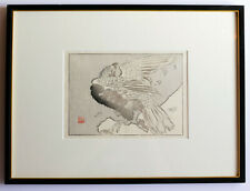 Large Bird with leaves – Japanese Woodblock print mounted & framed c.1900  Japan