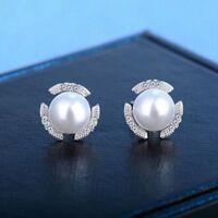 Women Lovely Silver Plated Pearl Crystal Ear Stud Earring Wedding Jewelry Gift d