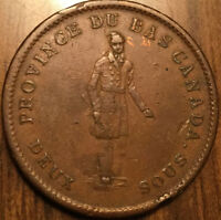 1837 LOWER CANADA ONE PENNY TOKEN CITY BANK BRETON 521