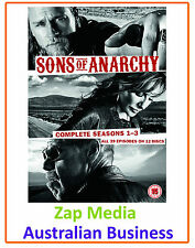 SONS OF ANARCHY - COMPLETE DVD SERIES SEASON 1, 2 & 3 - BRAND NEW & SEALED