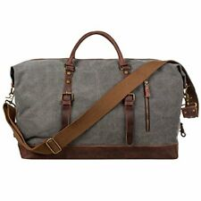 Mens Canvas Leather Holdall Travel Duffle Overnight Weekend Satchel Totes