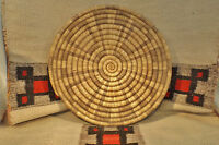 "Wonderful Native American Indian - Hopi coiled basket / tray/ plaque 15 & 1/2""RX"