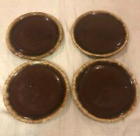 """Hull Brown Drip Glaze Oven Proof USA 6-3/4"""" Bread Plate Lot Of 4 Plates Vintage"""