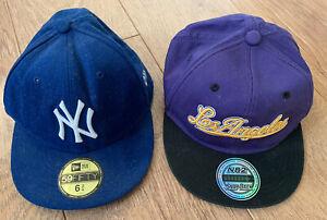 KIDS 2 BASEBALL CAPS / HATS - BLUE NEW ERA & PURPLE LOS ANGELES