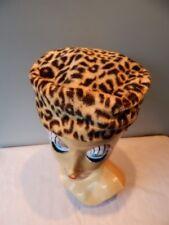 Vintage 1950s USA Leopard Cheetah Fake Faux Fur Cloche Hat Box Winter Millinery