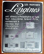 Publicité ancienne MONTRES LONGINES GRAND PRIX PHILADELPHIE   1927   advert