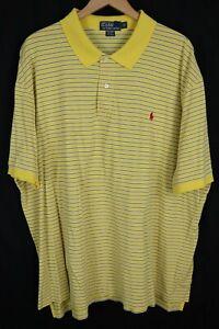 Polo Ralph Lauren Mens 4XB Big Yellow Blue Striped 100% Pima Cotton Mesh Shirt
