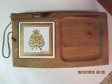 Vintage Georges Briard Wood & Tile Cheese Serving Board With Knife-Signed