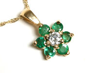9ct Gold Emerald and CZ Cluster Pendant and Chain Made in UK Gift Boxed Necklace